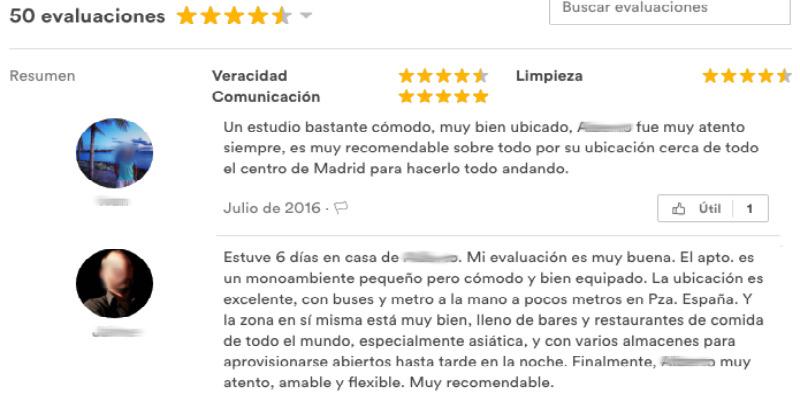 Evaluaciones Airbnb