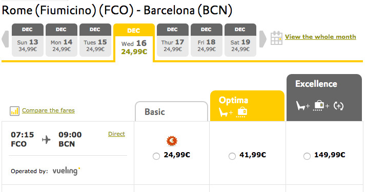 Tarifa Excellence Vueling