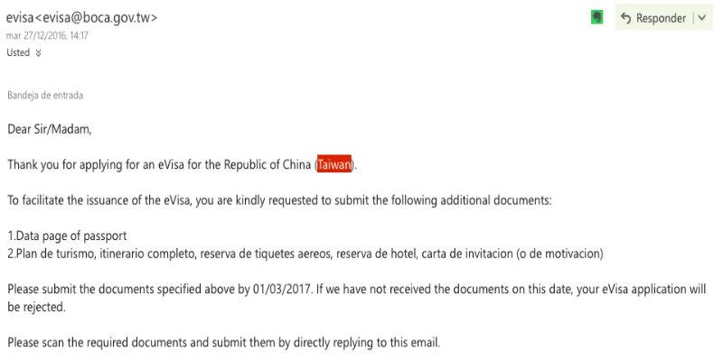 Requisitos visa de Taiwán